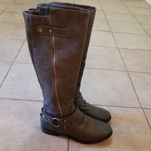 Rampage gray riding boots zippered 6